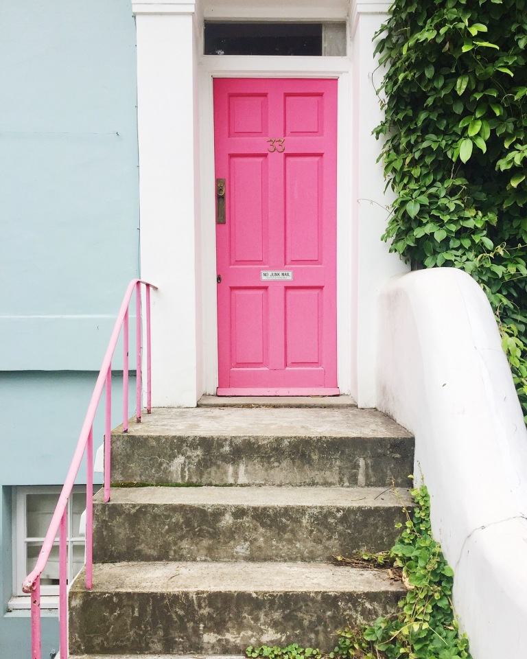 Notting Hill pink door and railing